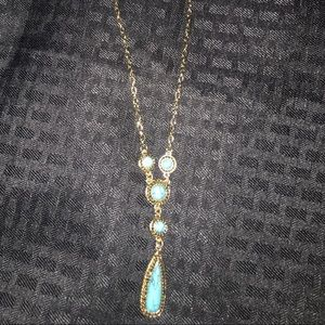 Gold and turquoise necklace and earring set